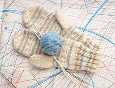 Stock Photo of ball of yarn and mittens