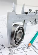 Stock Photo of technical drawing and bearing