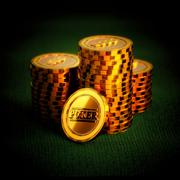 Luxurious Golden Poker Chips on a green table - stock illustration
