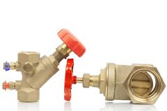 Plumbing valves on a white background Stock Photos