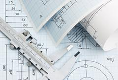 twisted technical drawing - stock photo