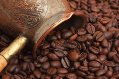 Bag of coffee beans Stock Photos