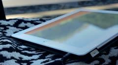 Tablet inside car traveling Stock Footage