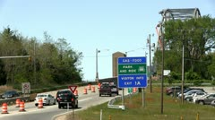 Bridge traffic merge construction Cape Cod Stock Footage