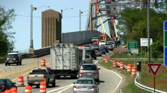 Bridge traffic merge construction Cape Cod; 3 - stock footage
