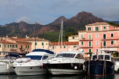 motor boats at porto azzurro, elba island - stock photo