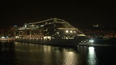 Luxury cruise ship night Stock Footage