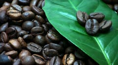 Coffee beans. Coffee tree leaves (Gently rotate). Stock Footage