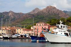 Boats at porto azzurro, elba island, italy Stock Photos