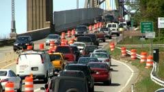 Bridge traffic merge construction Cape Cod; 4 - stock footage