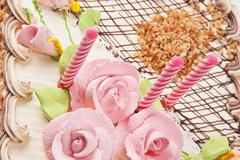 birthday cake with candles - stock photo