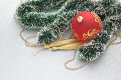 Stock Photo of christmas ball on christmas background