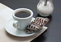 cup of coffee and chocolate chip cookies - stock photo