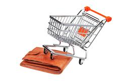 shopping cart and purse isolated - stock photo