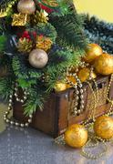 Stock Photo of christmas decoration in chest
