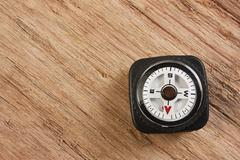 Stock Photo of compass on wooden background