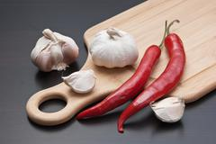 Stock Photo of garlic and red chili peppers