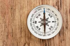 Compass on wooden background Stock Photos