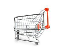 shopping cart isolated - stock photo