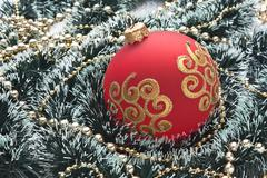 Stock Photo of christmas ball on christmas background