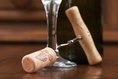 Stock Photo of wine bottle and corkscrew