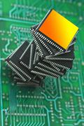pile of microchips - stock photo