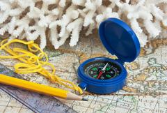 compass and coral - stock photo