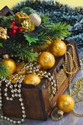 christmas decoration in chest - stock photo