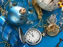 Christmas decoration and pocket watches Stock Photos