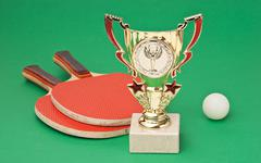 sports awards and  tennis racquets on  green table - stock photo