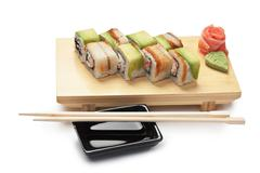 traditional asian food sushi - stock photo