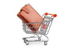 Stock Photo of shopping cart and purse isolated
