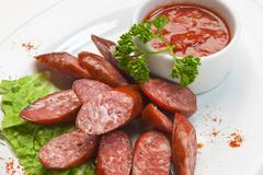 chopped sausages - stock photo