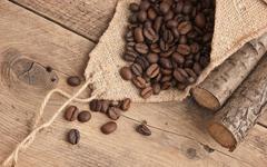 Coffee beans in a bag Stock Photos