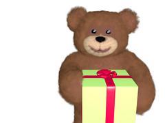 Teddy bear giving gift Stock Illustration