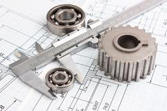 Mechanical drawing and pinion Stock Photos