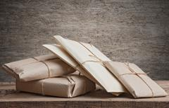 Stock Photo of pile parcels wrapped