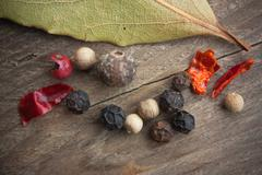 spices on old wooden table - stock photo