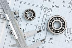 technical drawing and bearing - stock photo
