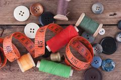 still life of spools of thread - stock photo