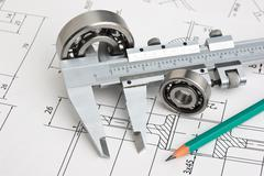 Technical drawing and bearing Stock Photos