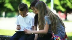 Children using PC tablet and mobile phone; Full HD Photo JPEG Stock Footage