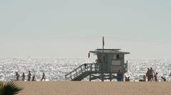 Lifeguard Tower on Venice Beach (Version 1 of 3) - stock footage