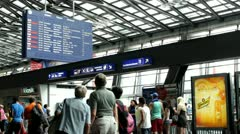 People traveling at Luzern Train station Stock Footage