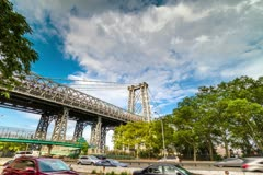 Williamsburg Bridge in NYC Manhattan New York City Timelapse HDR Beautiful 4K Stock Footage