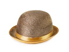 female golden fashionable hat - stock photo
