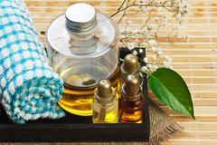 Set of perfume oils Stock Photos
