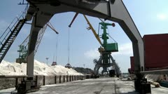 Loading of sand in the sea port 6 Stock Footage