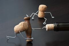 Wine cork and corkscrew Stock Photos