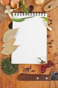 notebook for cooking recipes and spices - stock photo